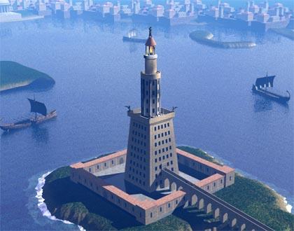 The great lighthouse at alexandria egypt stood on the island of